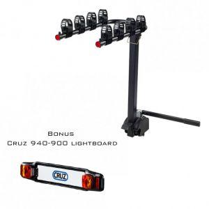 Cruz Bike Carrier For Towbar Mounting Frame 4 Bikes With Lightboard Bundle 940-525 - 940-900