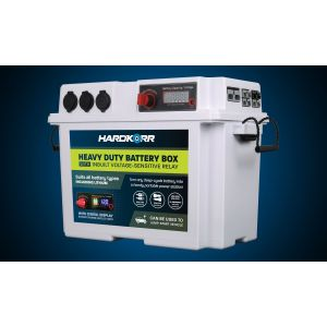 KORR WHITE HEAVY DUTY BATTERY BOX WITH VOLTAGE-SENSITIVE RELAY (VSR) 130Ah MAX HKPBATTBOX